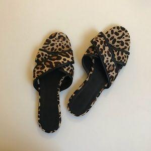 J Crew Cora Criss Cross Sandal in Leopard Size 8.5